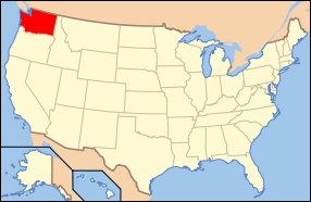 Map of the United States of America USA showing the location of Washington State.